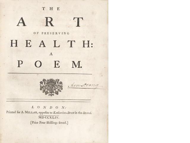 ARMSTRONG (JOHN)] The Art of Preserving Health: A Poem, FIRST EDITION, 1744