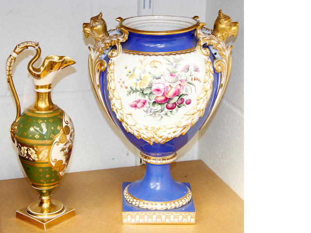 An English porcelain vase and a ewer, mid 19th century