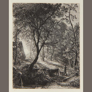 Samuel Palmer (British, 1805-1881) The Herdsman's Cottage (Sunset) (Lister 3ii) Etching, 1850, on laid, a good impression of the second and final state, with Palmer's etched initials in the lower margin, as published in 'The Portfolio', 1872, with wide margins, 95 x 75mm (3 3/4 x 3in)(PL)