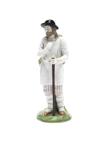 A porcelain figure of a WandererGardner Manufactory, late 18th century