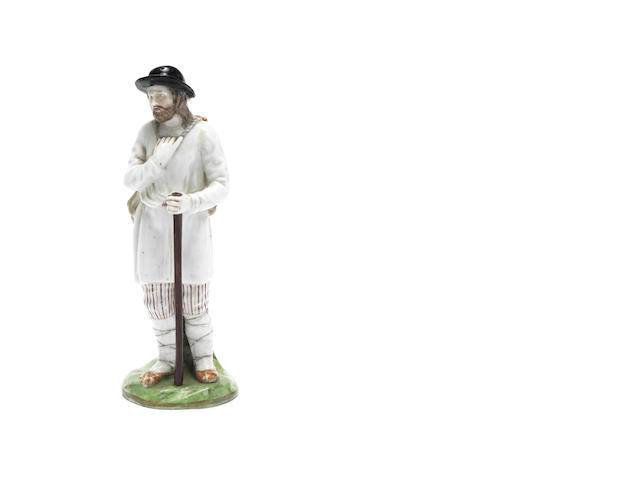 A porcelain figure of a Wanderer  Gardner Manufactory, late 18th century
