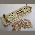A Napoleonic Prisoner-of-War bone polychrome domino and cribbage box, late 18th/early 19th century,