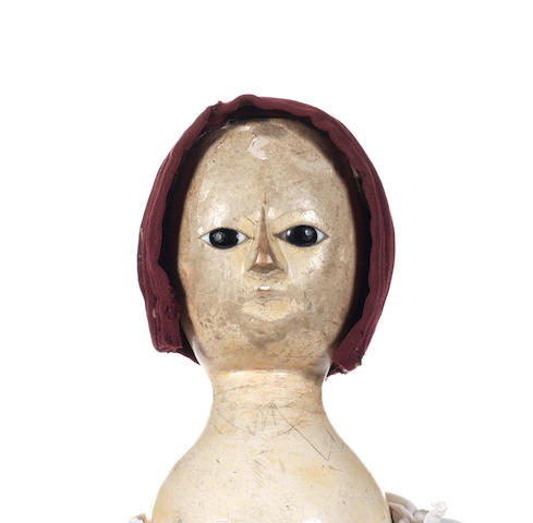 Early English carved wooden doll, mid 18th Century