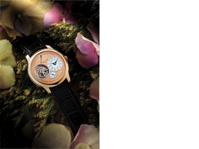 F.P. Journe. A very fine and rare 18ct rose gold manual wind tourbillon chronometer wristwatch with power reserve indication Tourbillon Souverain à Remontoir d'Egalité avec Seconde Morte, No.214-TN, Sold on 14th December 2007