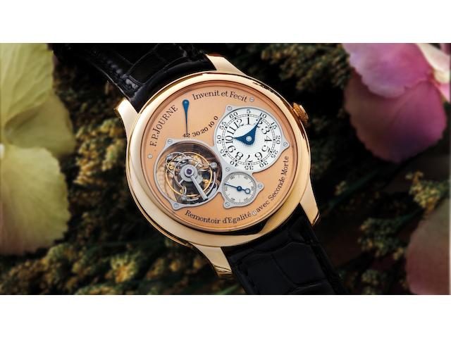 F.P. Journe. A very fine and rare 18ct rose gold manual wind tourbillon chronometer wristwatch with power reserve indicationTourbillon Souverain à Remontoir d'Egalité avec Seconde Morte, No.214-TN, Sold on 14th December 2007