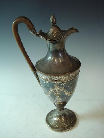An Old Sheffield plated coffee pot unmarked, circa 1790