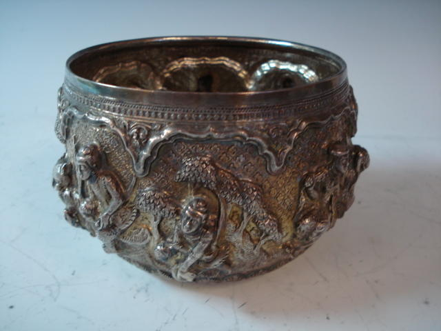 An Indian silver bowl