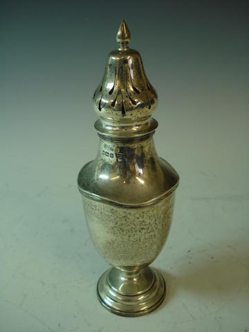 A silver pedestal urn-shape sugar castor by Walker and Hall, Sheffield 1914