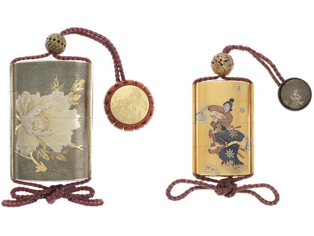 A set of two inlaid shibuichi and gold inro Both inro and the kagamibuta netsuke by Katsura Mitsuharu (1871-1962), dated 1931