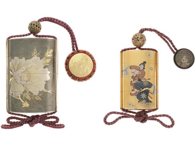 A set of two inlaid shibuichi and gold inro Both inro and the kagamibuta netsuke by Katsura Mitsuharu (1871-1962), dated 1931