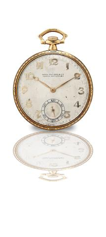 Patek Philippe & Cie. A fine and rare 18ct gold and enamel keyless wind open face pocket watchMovement No.808662, Case No.410093, Made in 1924, retailed by Carter Brothers Co. Portland, Maine