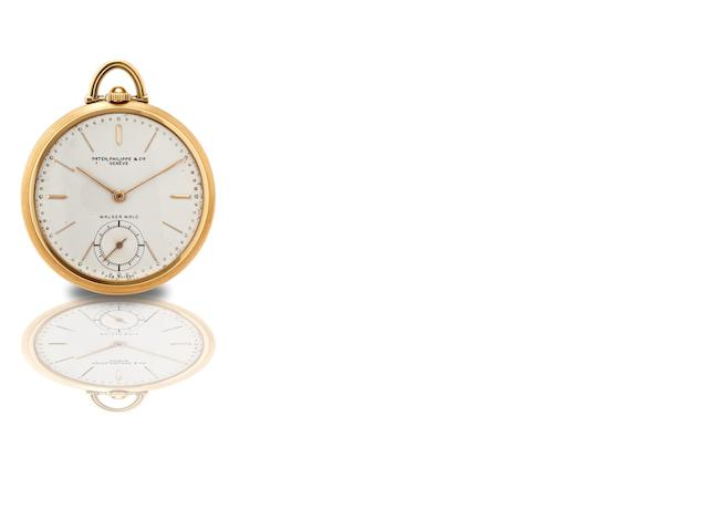 Patek Philippe & Co. A rare and fine 18ct gold keyless wind open face keyless pocket watch Ref:636, Movement No.880692, Case No.616386, Made in 1939, Signed Patek Philippe, Genève, retailed by Walser Wald