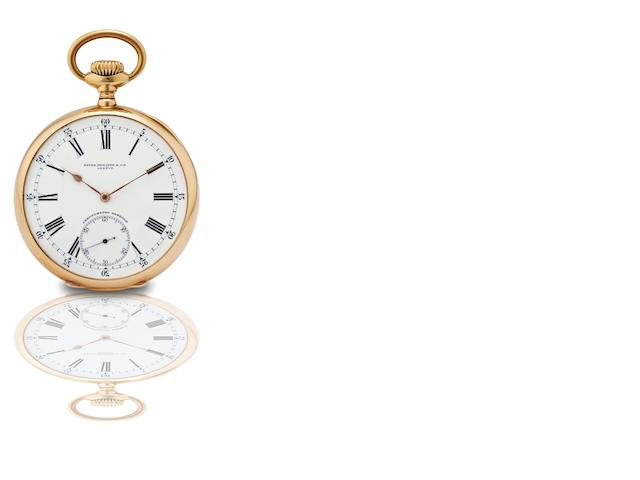 Patek Philippe & Cie. A very fine and rare 18ct gold open face keyless wind pocket watch Chronometro Gondolo, Movement No.163775, Case No.267515, Made for Gondolo & Labouriau, Relojoeiros, Rio de Janeiro in 1910