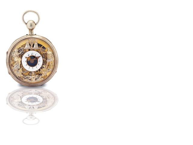 Kleinlein. A fine and rare silver and gilt open face skeleton quarter repeating automaton key wind pocket watch  Circa 1810