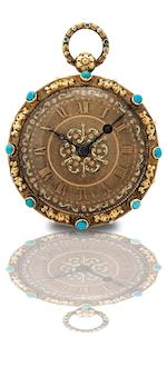 Bautte & Moynier à Genève. A fine and rare gold, gilt and turquoise open face key wind pocket watch Numbered 40610, Circa 1810