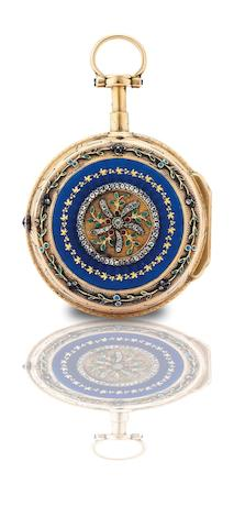 Musson à Paris. A fine and rare gold and enamel open face quarter repeating key wind pocket watchCirca 1760