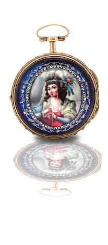 Jaq Coulin & Amy Bry. A fine and rare gilt, gold and enamel open face triple case key wind pocket watch Circa 1790