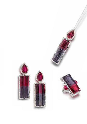 A bi-colour tourmaline and diamond ring, pendant and earrings suite (3)