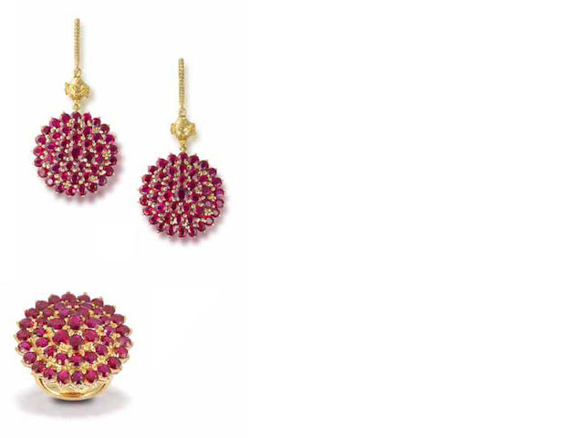 A ruby ring and earring suite (2)