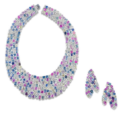 A coloured sapphire and diamond necklace and earrings suite (2)
