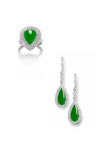 A jadeite and diamond ring and earrings suite (2)