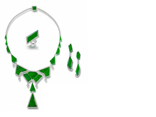 A jadeite and diamond necklace, ring and earrings suite (3)
