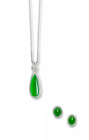 A jadeite and diamond pendant necklace and ear clip suite (2)