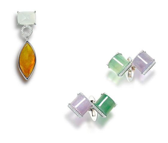 A jadeite and diamond pendant and a pair of jadeite and diamond cufflinks (2)