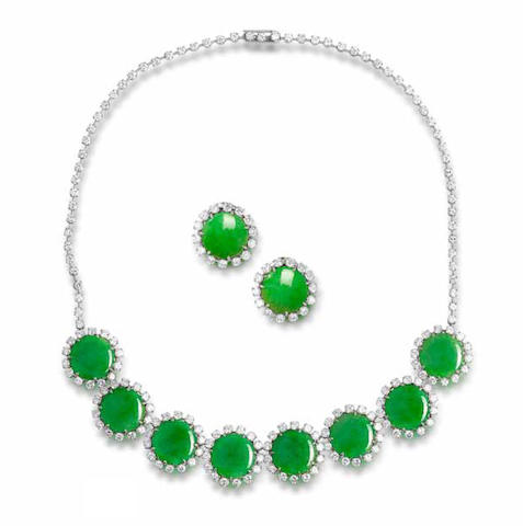 A jadeite and diamond necklace and earring suite,  by Van Cleef & Arpels (2)