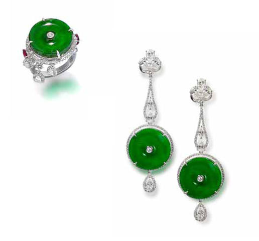 A jadeite, ruby and diamond ring and earring suite (2)