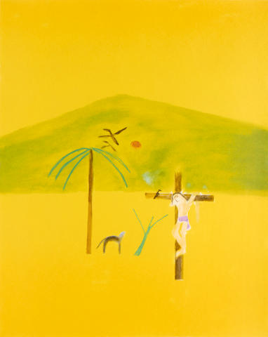 Craigie Aitchison C.B.E., R.A. (British, 1926-2009) Indian Crucifixion Screenprint in colours, 2003, on wove, signed and numbered from the edition of 75 in pencil, published by Advanced Graphics, London, the full sheet printed to the edges, 755 x 600mm (29 3/4 x 23 5/8in)(SH)