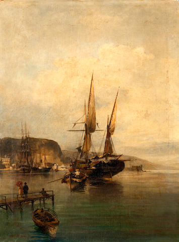 Constantinos Volanakis (Greek, 1837-1907) View of harbour 70 x 53.5 cm.