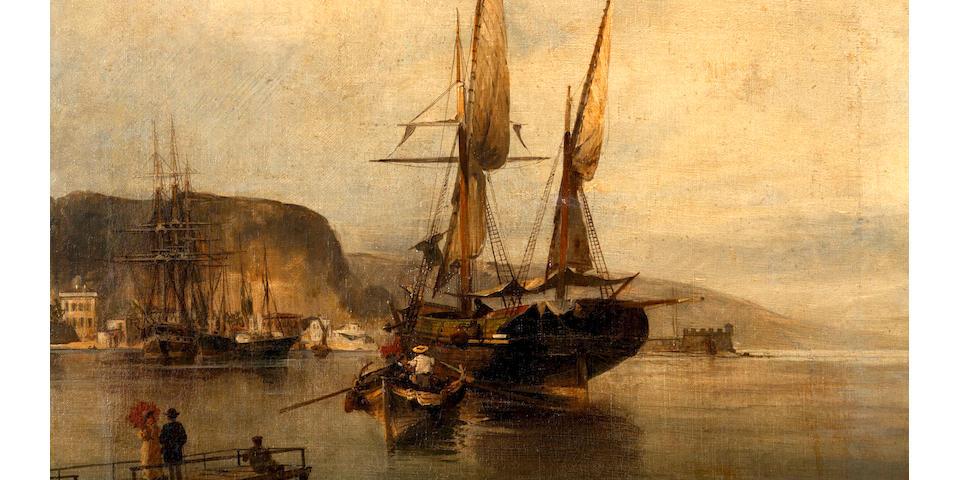 Constantinos Volanakis (Greek, 1837-1907) View of harbour 70 x 53.5 cm.