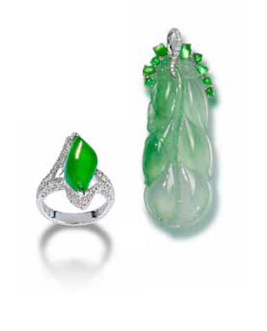 A jadeite and diamond pedant and a jadeite and diamond ring (2)