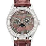 Patek Philippe. A fine 18ct white gold and diamond set lady's automatic wristwatch with moon phasesRef:4936G-001, Case No.4413253, Movement No.3750107, Sold in 2008
