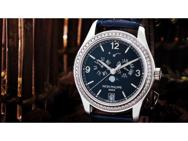 Patek Philippe. A fine 18ct white gold and diamond set automatic calendar wristwatchRef:5147G-001, Case No.4408222, Movement No.3606528, Circa 2007