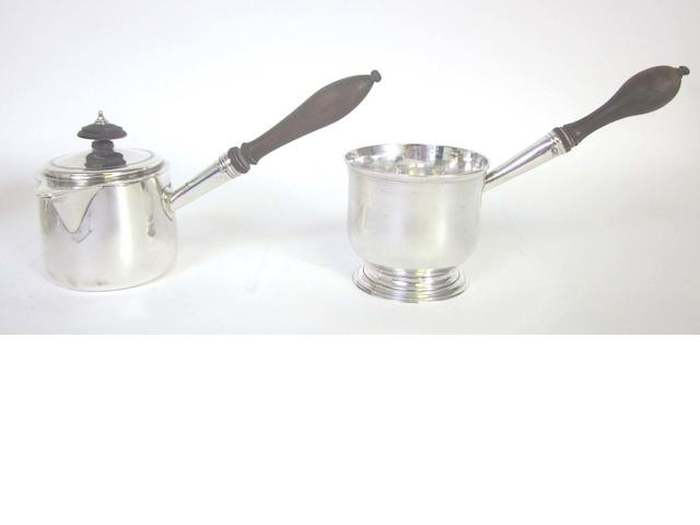 A George IV silver covered brandy saucepan By Rebecca Emes & Edward Barnard I, London 1821