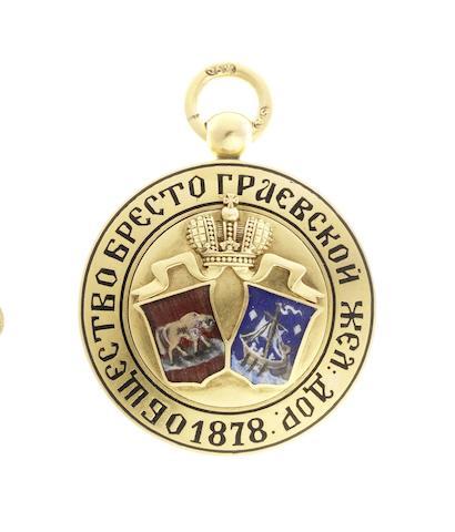 A gold and enamel commemorative jetonSamuel Arndt, St. Petersburg, before 1899