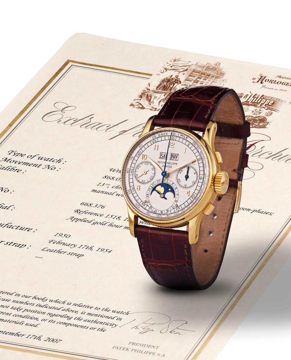 Patek Philippe. A highly rare and important 18ct gold perpetual calendar chronograph manual wind wristwatch with moon phasesRef:1518, Case No.668376, Movement No.868015, Made in 1950, Sold on 17th February 1954