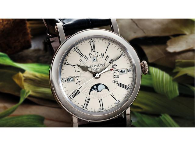 Patek Philippe. A very fine and rare 18ct white gold perpetual calendar automatic wristwatch with retrograde date and moon phasesRef:5159G, Case No.4502806, Movement No.5534445, Sold in 2010