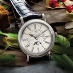 Patek Philippe. A very fine and rare 18ct white gold perpetual calendar automatic wristwatch with retrograde date and moon phases Ref:5159G, Case No.4502806, Movement No.5534445, Sold in 2010