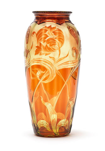 A Stevens and Williams intaglio vase by Joshua Hodgetts, circa 1909