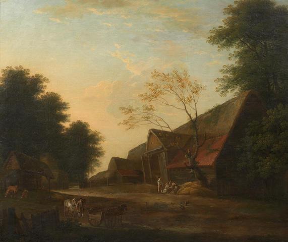 George Lambert (Kent 1700-1765 London) A groom with horses approaching an inn