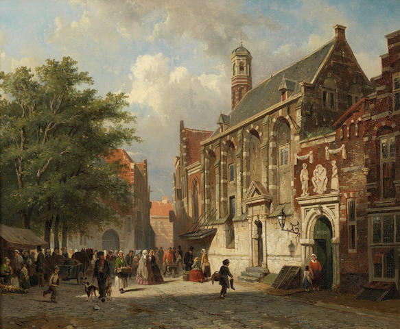 Attributed to Adrianus Eversen (Dutch, 1818-1897) Going to the orphanage