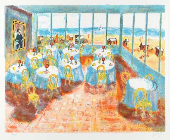 Carlos Nadal (1917-1998) Terraza em La Player (lithograph 117/150) 1981 framed