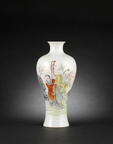 A famille rose, meiping vase Shengdetang four-character mark