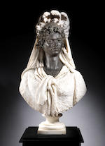 Luigi Pagani (Italian, 1837-1904) An impressive white marble and patinated bronze bust of Selika