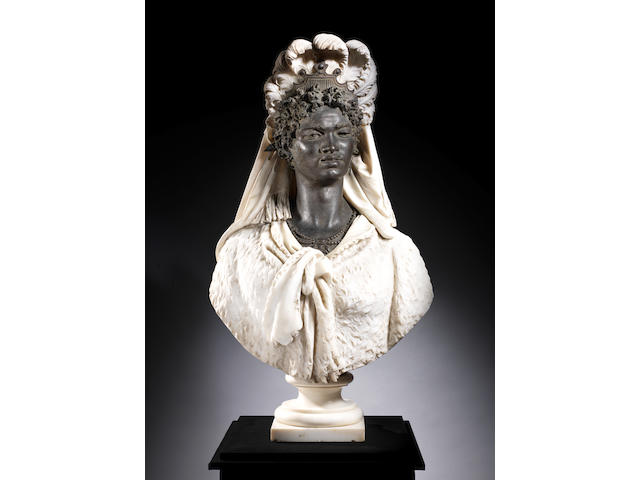 An impressive white marble and patinated bronze bust of Selika by Luigi Pagani, Milan, circa 1770 LUIGI PAGANI (ITALIAN, 1837-1904)
