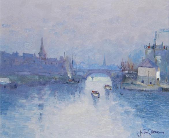 Liam Treacy (Irish, 1934-2004) Late Evening at the Docks