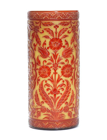 A Thomas Webb yellow and red cameo cylindrical vase by George Woodall, damaged
